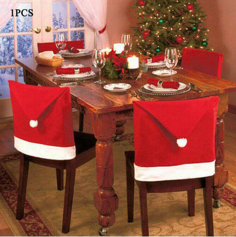 Fancy Santa Claus Hat Chair Back Cover for Christmas Dinner Decoration Cap RED 1PCS