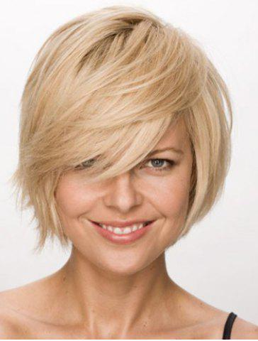Hot Charming Short Side Bang Capless Vogue Fluffy Straight Synthetic Light Brown Mixed Wig For Women - LIGHT BROWN  Mobile