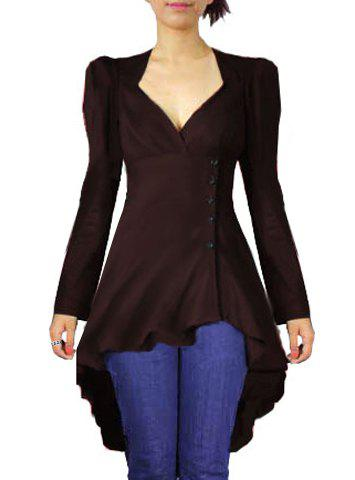 Solid Color Sweetheart Neck Back Lace Up Asymmetric Blouse $19.68 AT vintagedancer.com