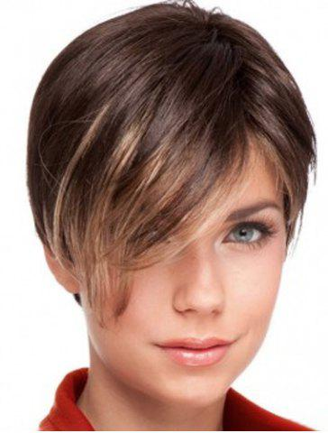 Shops Trendy Golden Highlight Side Bang Stunning Short Straight Synthetic Wig For Women