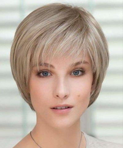 New Bob Style Short Capless Vogue Straight Side Bang Cute Flax Synthetic Wig For Women