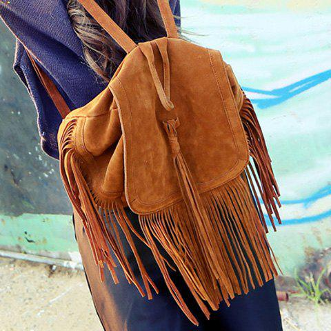 Online Trendy Fringe and Solid Color Design Women's Satchel - BROWN  Mobile