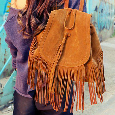 Best Trendy Fringe and Solid Color Design Women's Satchel - BROWN  Mobile