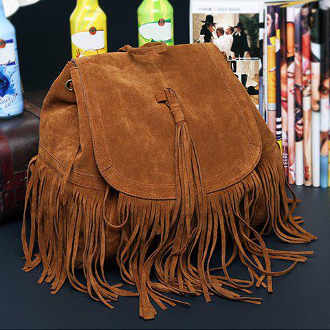 Outfit Trendy Fringe and Solid Color Design Women's Satchel - DEEP BROWN  Mobile
