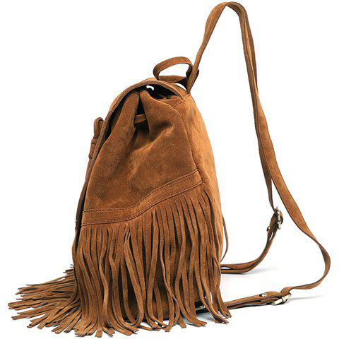 Outfits Trendy Fringe and Solid Color Design Women's Satchel - DEEP BROWN  Mobile
