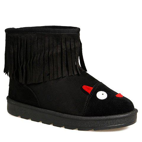 Outfits Cute Fringe and Cartoon Pattern Design Women's Snow Boots