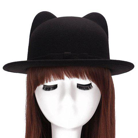 Hot Chic Small Bow Lace-Up Embellished Felt Cat Ear Hat For Women BLACK