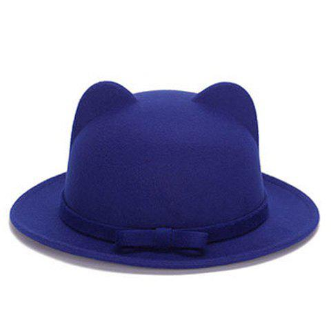 Store Chic Small Bow Lace-Up Embellished Felt Cat Ear Hat For Women - SAPPHIRE BLUE  Mobile