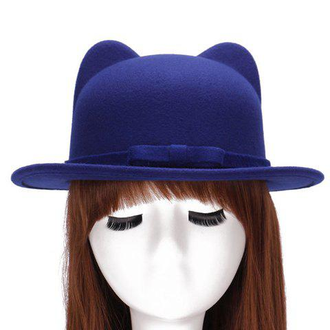 Online Chic Small Bow Lace-Up Embellished Felt Cat Ear Hat For Women - SAPPHIRE BLUE  Mobile