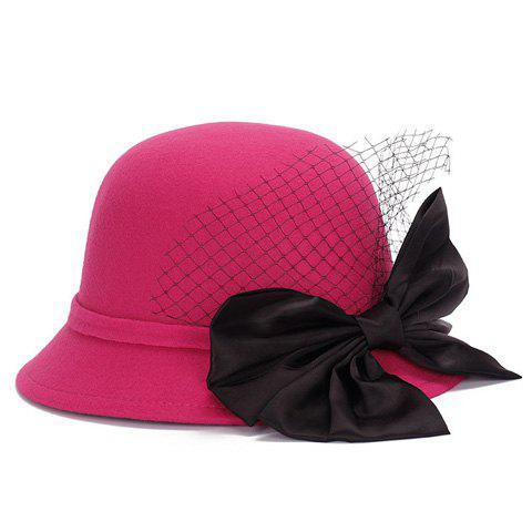 Fashion Chic Big Bow and Mesh Yarn Embellished Felt Cloche Hat For Women - ROSE  Mobile
