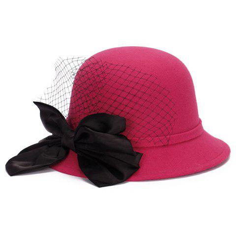 Latest Chic Big Bow and Mesh Yarn Embellished Felt Cloche Hat For Women - ROSE  Mobile