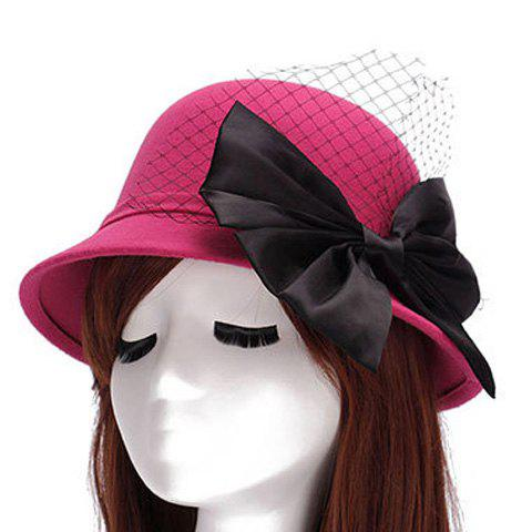 Hot Chic Big Bow and Mesh Yarn Embellished Felt Cloche Hat For Women ROSE