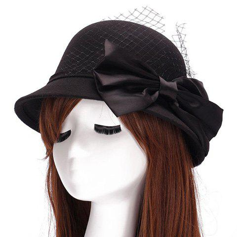 Store Chic Big Bow and Mesh Yarn Embellished Felt Cloche Hat For Women - BLACK  Mobile