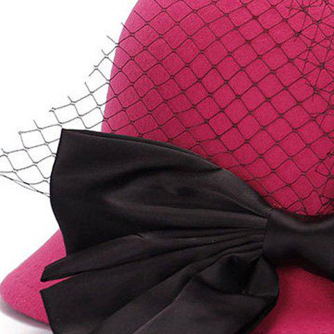 Shop Chic Big Bow and Mesh Yarn Embellished Felt Cloche Hat For Women - BLACK  Mobile