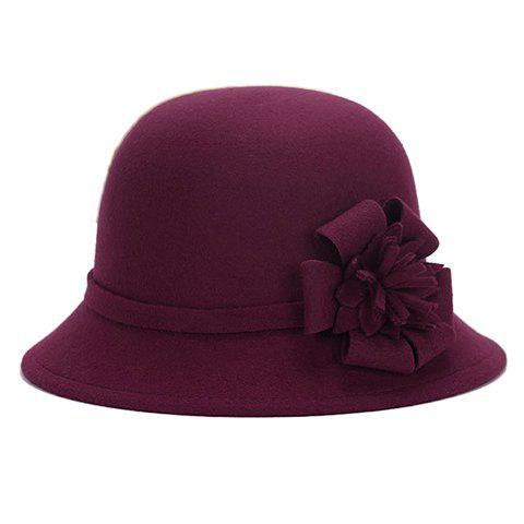Fashion Chic Flower Shape Embellished Bright Color Felt Cloche Hat For Women - WINE RED  Mobile