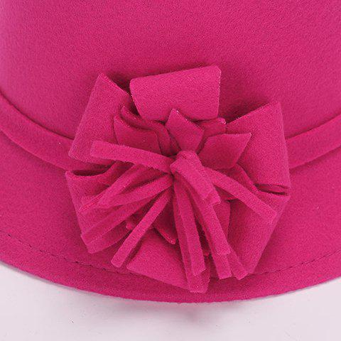 Outfits Chic Flower Shape Embellished Bright Color Felt Cloche Hat For Women - CAMEL  Mobile