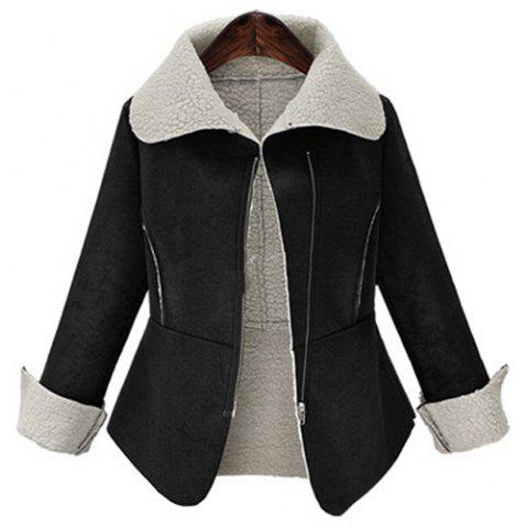Chic Trendy Turn-Down Collar Fuzzy Long Sleeve Coat For Women