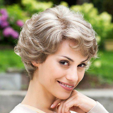 Fashion Elegant Short Side Bang Capless Fluffy Curly Trendy Golden Gray Synthetic Wig For Women