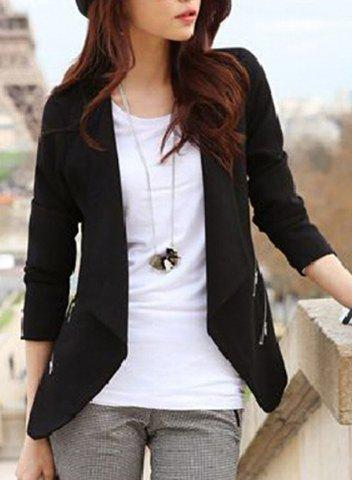 Outfits Chic Collarless Long Sleeve Zippered Women's Blazer