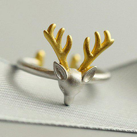 Online Christmas Style Elk Shape Cuff Ring SILVER ONE-SIZE