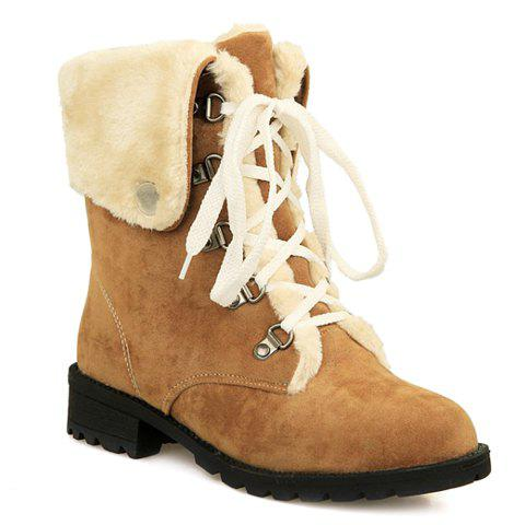 Latest Fashionable Plush and Lace-Up Design Women's Short Boots