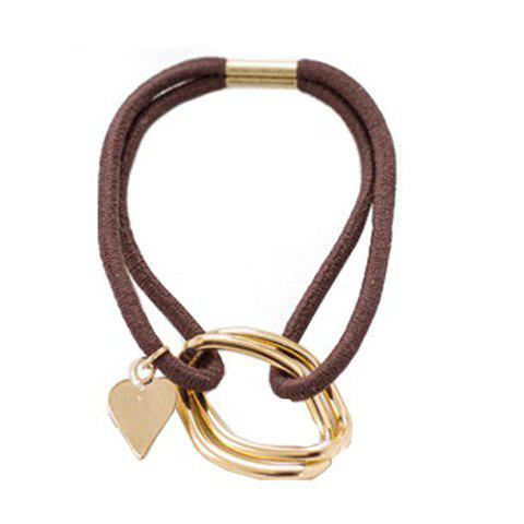 Chic Sweet Heart Double-Layered Elastic Hair Band For Women - COFFEE  Mobile