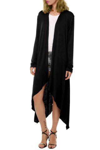 Collarless Long Sleeve See Through Irregular Solid Color Thin Cardigan 160589115