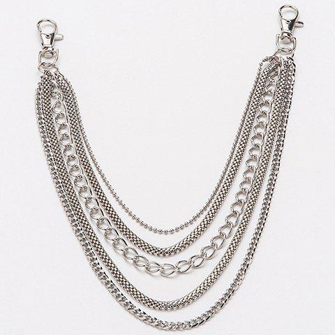 Shops Stylish Simple Five Layered Trouser Chain For Men - SILVER  Mobile