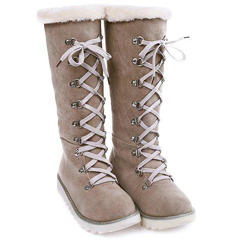 Hot Concise Lace-Up and Suede Design Women's Snow Boots