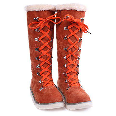 Buy Concise Lace-Up Suede Design Women's Snow Boots
