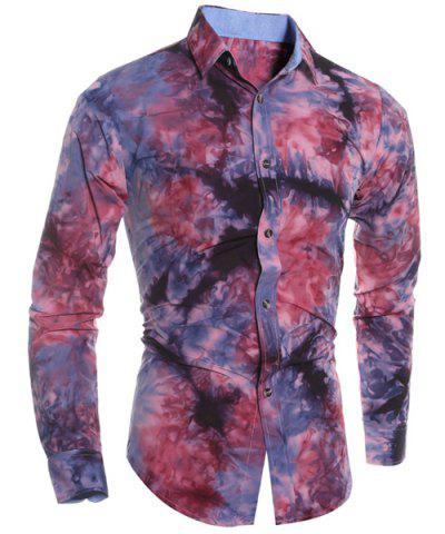 Fancy Abstract Floral Pattern 3D Tie-Dye Design Slimming Shirt Collar Long Sleeves Men's Shirt RED L