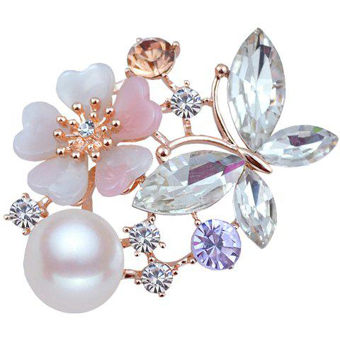 Outfit Delicate Faux Pearl Rhinestone Butterfly Floral Brooch For Women