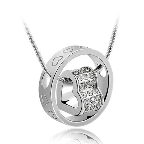 New Rhinestone Heart Ring Pendant Necklace SILVER
