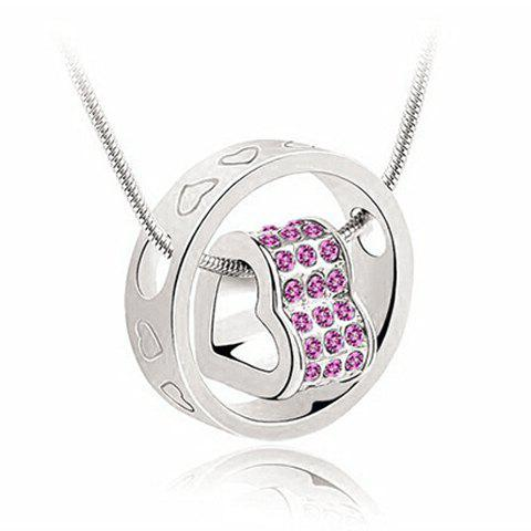 Store Rhinestone Heart Ring Pendant Necklace