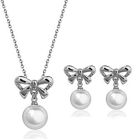 Fashion A Suit of Stylish Faux Pearl Hollow Out Bowknot Necklace and Earrings For Women