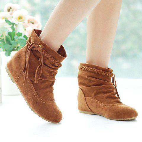Chic Simple Weaving and Ruched Design Women's Short Boots - 37 KHAKI Mobile