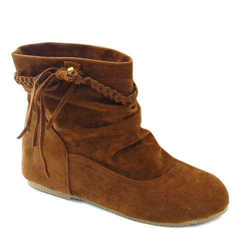Sale Simple Weaving and Ruched Design Women's Short Boots - 37 KHAKI Mobile