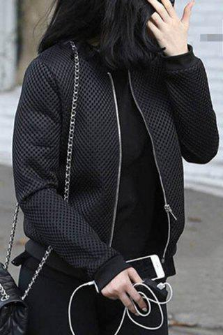 Shop Trendy Black Jewel Neck Mesh Design Thick Coat For Women