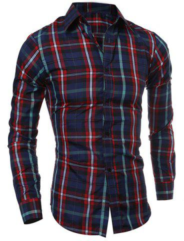 New Casual Turn-down Collar Color Block Checked Print Slimming Men's Long Sleeves Shirt RED M