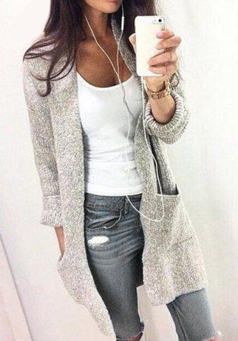 Collarless Long Sleeve Pocket Design Gray Cardigan 158901602