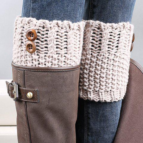 Pair of Chic Button Embellished Crochet Knitted Boot Cuffs For Women - Light Khaki - 5xl