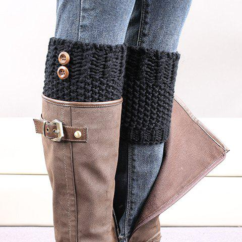 Fancy Pair of Chic Button Embellished Crochet Knitted Boot Cuffs For Women