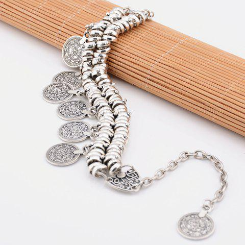 Trendy Vintage Dull Polish Punk Coin Tassel Indian Boot Anklet - SILVER  Mobile