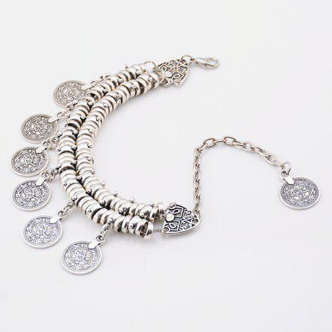 New Vintage Dull Polish Punk Coin Tassel Indian Boot Anklet - SILVER  Mobile