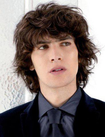 Outfit Handsome Short Synthetic Shaggy Curly Vogue Deep Brown Full Bang Capless Wig For Men DEEP BROWN