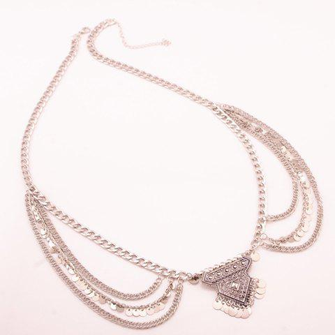 Buy Delicate Solid Color Wafer Tassel Rhombus Shape Belly Body Chain For Women - SILVER  Mobile