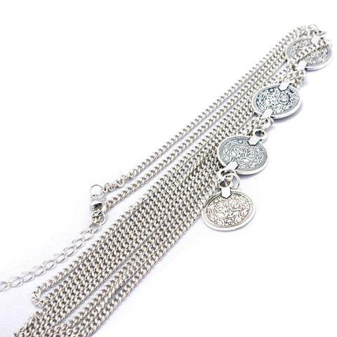 Fashion Vintage Round Coin Arm Chain Jewelry - SILVER  Mobile