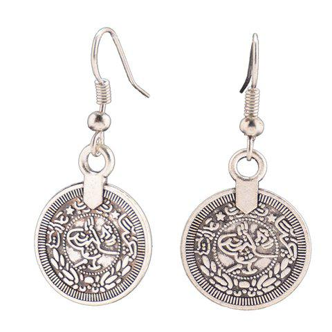 Fancy Round Coin Shape Drop Earrings SILVER