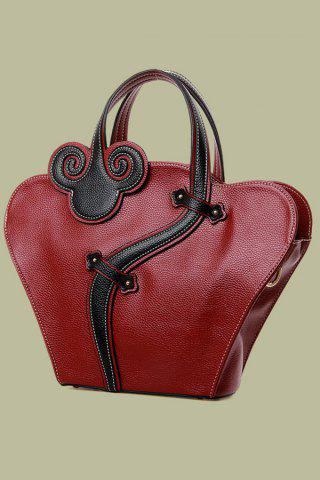 Online Vintage Cheongsam Shape and Embossing Design Women's Tote Bag - WINE RED  Mobile