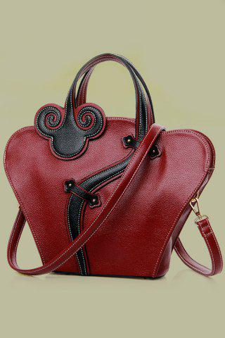Hot Vintage Cheongsam Shape and Embossing Design Women's Tote Bag - WINE RED  Mobile